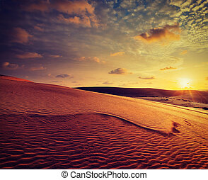 White sand dunes on sunset, Mui Ne, Vietnam - Vintage retro...