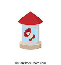 Round advertising pillar  icon, cartoon