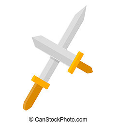 Two swords icon, isometric 3d style - Two swords icon in...