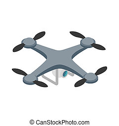 Quadrocopter icon, isometric 3d style - Quadrocopter icon in...