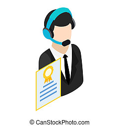 Call center operator with headset icon in isometric 3d style...