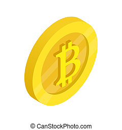Gold coin with baht sign icon, isometric 3d style - Gold...