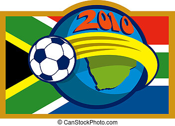 2010 soccer world cup with soccer ball fying over globe with map and flag of south africa