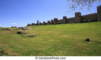 Medieval city wall built in the Romanesque style, Avila City...