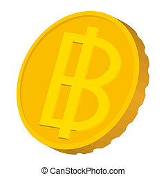 Gold coin with Baht sign icon, carton style - Gold coin with...