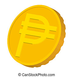 Gold coin with Peso sign icon, cartoon style - Gold coin...