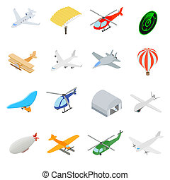 Aviation Icons Set in isometric 3d style isolated on white