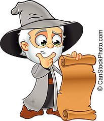 Old Grey Wizard Cartoon Character - A cartoon illustration...