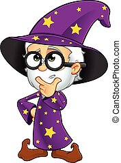Old Wizard In Purple - A cartoon illustration of an Old...