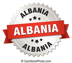 Albania round silver badge with red ribbon