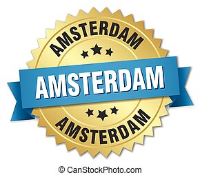 Amsterdam round golden badge with blue ribbon