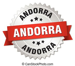 Andorra round silver badge with red ribbon