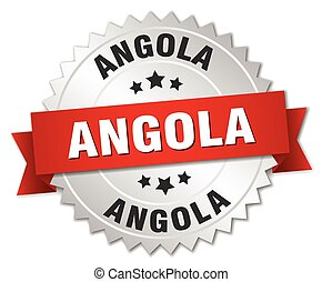 Angola  round silver badge with red ribbon