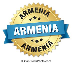 Armenia round golden badge with blue ribbon