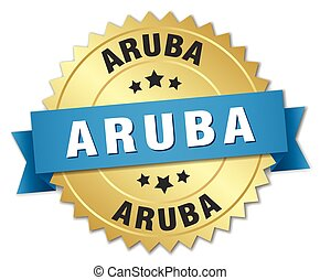 Aruba round golden badge with blue ribbon