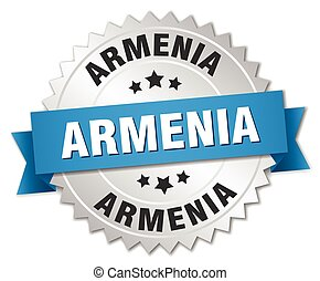 Armenia round silver badge with blue ribbon