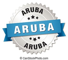 Aruba round silver badge with blue ribbon