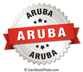 Aruba round silver badge with red ribbon