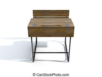 Vintage Wooden School Desk - A 3D rendering of a vintage...