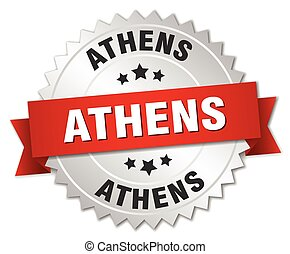 Athens round silver badge with red ribbon - Athens round...