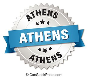 Athens round silver badge with blue ribbon