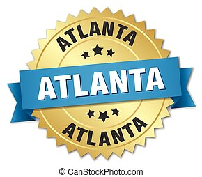 Atlanta round golden badge with blue ribbon