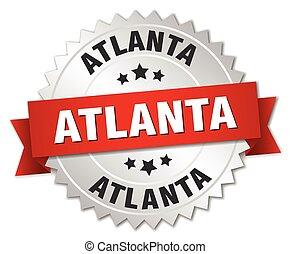 Atlanta  round silver badge with red ribbon