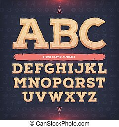 Ancient alphabet. Memorial typeface. Carved from stone abc....