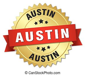 Austin round golden badge with red ribbon