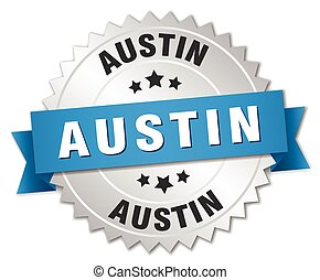 Austin round silver badge with blue ribbon