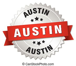 Austin round silver badge with red ribbon - Austin round...
