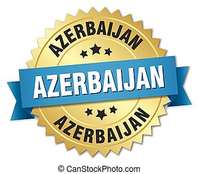 Azerbaijan round golden badge with blue ribbon