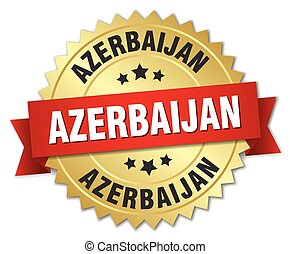 Azerbaijan round golden badge with red ribbon