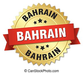 Bahrain round golden badge with red ribbon