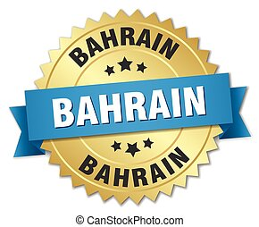 Bahrain round golden badge with blue ribbon