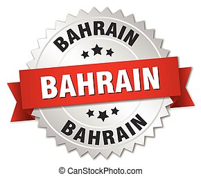 Bahrain round silver badge with red ribbon