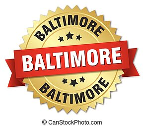 Baltimore round golden badge with red ribbon