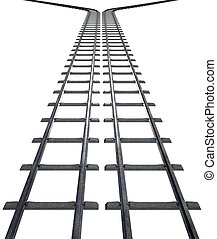 Train Tracks Isolated - A train track that splits into two...