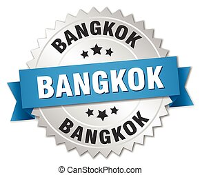 Bangkok round silver badge with blue ribbon