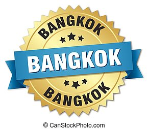 Bangkok round golden badge with blue ribbon