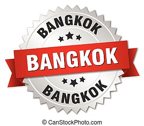 Bangkok  round silver badge with red ribbon