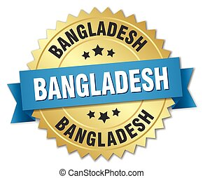 Bangladesh round golden badge with blue ribbon