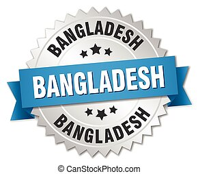 Bangladesh round silver badge with blue ribbon