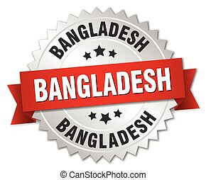 Bangladesh round silver badge with red ribbon