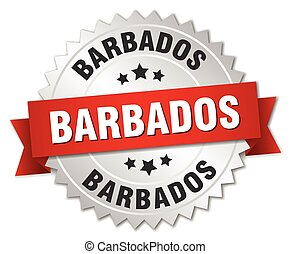 Barbados round silver badge with red ribbon