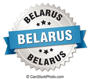 Belarus round silver badge with blue ribbon