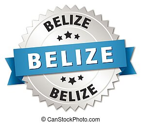 Belize round silver badge with blue ribbon