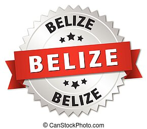 Belize round silver badge with red ribbon - Belize round...