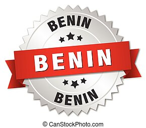 Benin round silver badge with red ribbon