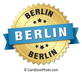 Berlin round golden badge with blue ribbon